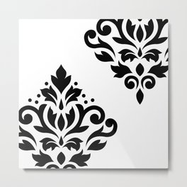 Scroll Damask Art I Black on White Metal Print