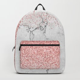 Rose Gold Glitter and white marmble Backpack