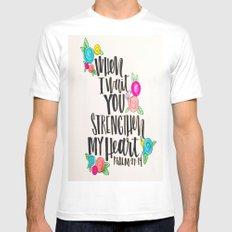 Psalm 27: 15 When I Wait You Strengthen My Heart MEDIUM White Mens Fitted Tee