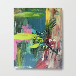 Excited: a vibrant, colorful, dynamic acrylic piece in various colors Metal Print