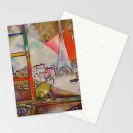 'Paris Through the Window - Eiffel Tower, Seine, & Left Bank' by Marc Chagall Stationery Cards