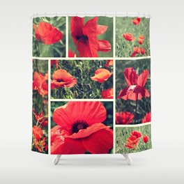Poppies Collage Shower Curtain
