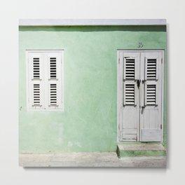 Mint green house in Caribbean Metal Print