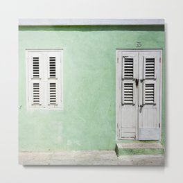 Mint green house in Caribbean Metal Print