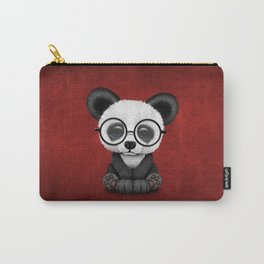 Cute Panda Bear Cub with Eye Glasses on Red Carry-All Pouch