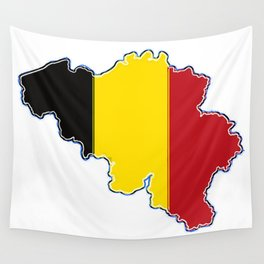 Belgium Map with Belgian Flag Wall Tapestry