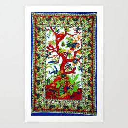 Hippie Tree of Life Cotton Tapestry in Red and Green Art Print