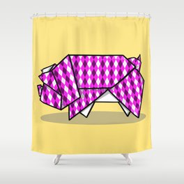 Origami Pig Shower Curtain