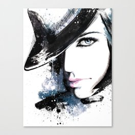 Fashion Beauty, Fashion Painting, Fashion IIlustration, Vogue Portrait, Black and White, #15 Canvas Print