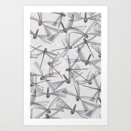 watercolor dragonflies silver Art Print