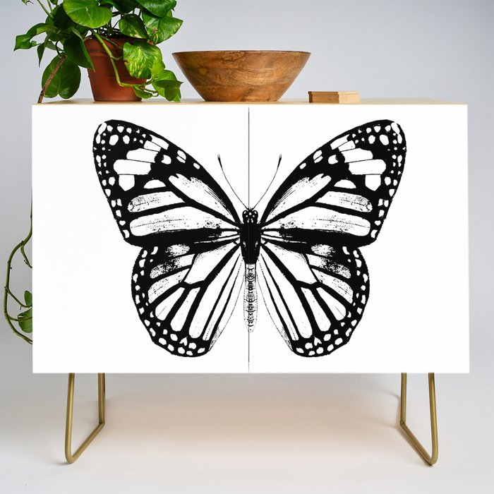 Monarch Butterfly | Vintage Butterfly | Black and White | Credenza