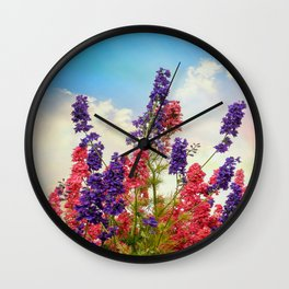 Delphiniums Wall Clock