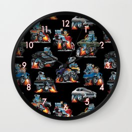 Car Crazy Classic Hot Rod Muscle Cars Cartoons Seamless Pattern Wall Clock