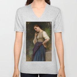 """William-Adolphe Bouguereau """"The Shepherdess"""" Unisex V-Neck"""