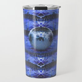 Disco Bee Hive Silver and Blue and Black Travel Mug