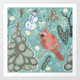 Bird and Snowman Art Print
