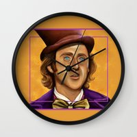 willy wonka Wall Clocks featuring The Wilder Wonka by Shana-Lee