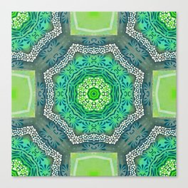 Octagon Kaleidoscope Flower in Green Turquoise and Gray Canvas Print