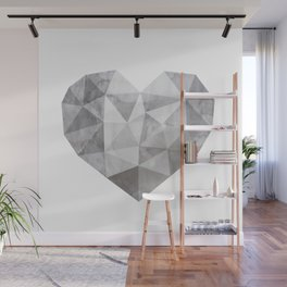 Fractal heart in shades of gray Wall Mural