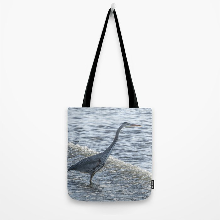 Great Blue Heron and Wave Tote Bag