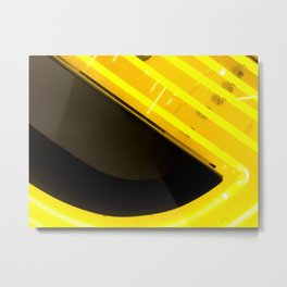 Yellow neon in the city Metal Print