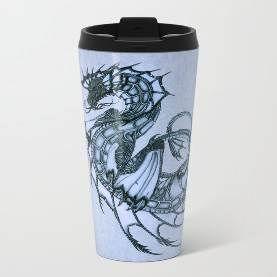 """Tsunami"" by Amber Marine ~ Sea Dragon (Ice Blue Version) ~ Graphite/Charcoal Illustration, (c) 2005 Metal Travel Mug"