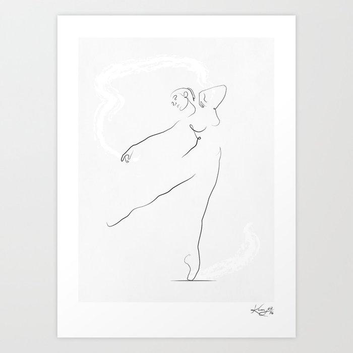 U0026 39 Reach U0026 39   Dancer Line Drawing Art Print By Kerrykg
