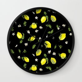 Black background pattern with lemons and flowers Wall Clock