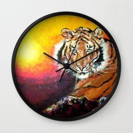 Awaiting the Darkness of Night (Male Tiger) Wall Clock