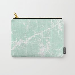 Modern vintage mint white elegant marble Carry-All Pouch
