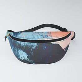 Delight: a vibrant abstract painting in blues and coral by Alyssa Hamilton Art Fanny Pack