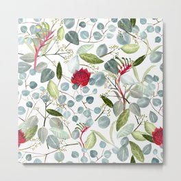 Eucalyptus Kangaroo paw watercolor floral design Metal Print
