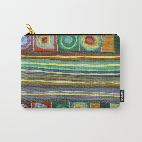 Symmetrical Bordered Stripes Carry-All Pouch
