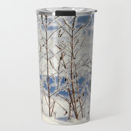 Ice frozen on plants with ice on background Travel Mug