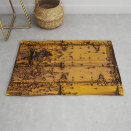 Rusting Yellow Boxcar Door Train Rolling Stock Railroad Texture Rug