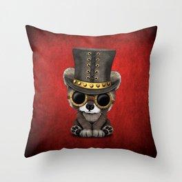Steampunk Baby Raccoon Throw Pillow