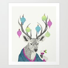 Mr. Deer gets festive  Art Print