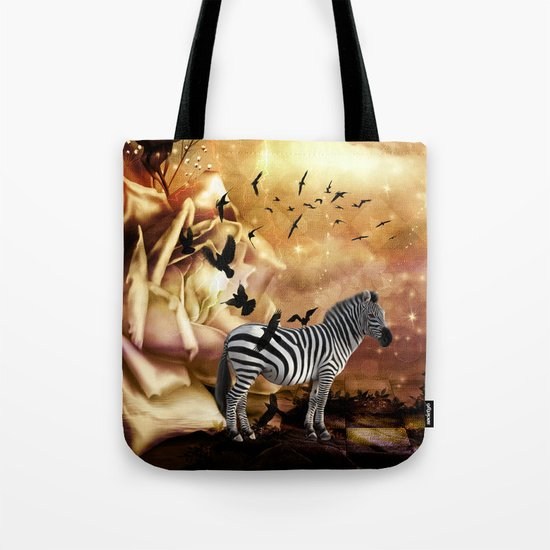 Beautiful zebra with birds Tote Bag