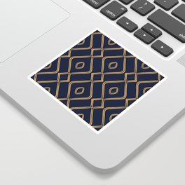 Modern Boho Ogee in Navy & Gold Sticker