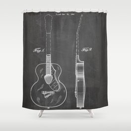 Accoustic Guitar Patent - Classical Guitar Art - Black Chalkboard Shower Curtain