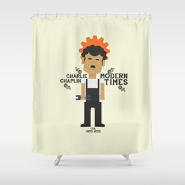 Modern Times, Charlie Chaplin, minimal movie poster, classic film, Charlot playbill Shower Curtain