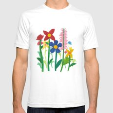 Birthday Flowers White SMALL Mens Fitted Tee