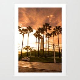 Sunset at Long Beach, California Lighthouse Art Print