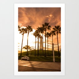 Sunset at Long Beach, California Lighthouse Art Print
