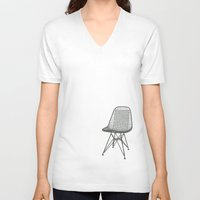 eames V-neck T-shirts featuring Eames Wire Chair by Green Bird Press