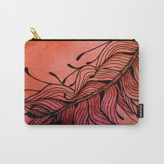 Doodled Autumn Feather 01 Carry-All Pouch