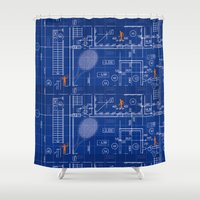 blueprint Shower Curtains featuring Blue Blueprint with Construction Workers & Tennis Racquet by WIGEGA