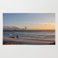 south africa Area & Throw Rugs featuring Sunset Beach - South Africa by The 3rd Eye