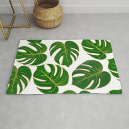 Modern hand painted green faux gold monster leaves Rug