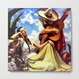 Love and Spanish Guitar (tocaores) in the Sonoran Desert, Señorita romantic portrait painting Metal Print